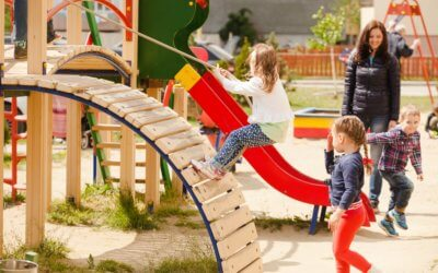 Children are playing at the playground outdoor